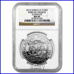 New 2013 Somalia Silver African Elephant 1oz NGC MS69 Graded Slab Coin