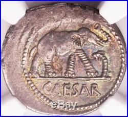 Ngc Au Julius Caesar Elephant Silver Denarius Coin 49-48 B. C. Rare