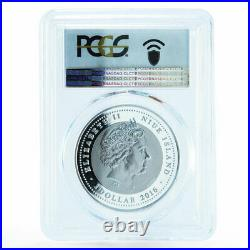 Niue 1 dollar Year of the Monkey Monkey on Elephant PR70 PCGS silver coin 2016