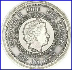 Niue 2019 Mandala Collection Elephant 2 oz Antiqued Finish Silver Coin