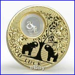Niue 2 dollars Good Luck Elephant gilded silver coin 2013