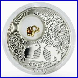 Niue 2 dollars Good Luck Elephant proof silver coin 2012