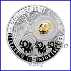 Niue Island 2012 2$ Elephant Lucky Coins Edition series silver coin