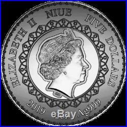 Niue Island 2019 Mandala Art Series Elephant 5$ 2 oz silver coin mintage 500