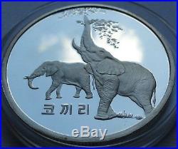 Original 2007 Korea 1500 Won Elephants 1 Oz Silver 999 Proof Rare