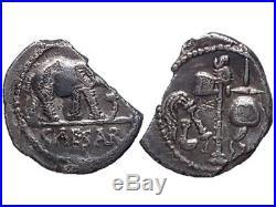 Prados Imperatorial coins Julius Caesar AR denarius. Military mint. Elephant