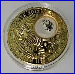 RARE 2013 ELEPHANTS. 925 silver gold gild Luck Series PROOF coin Box & COA