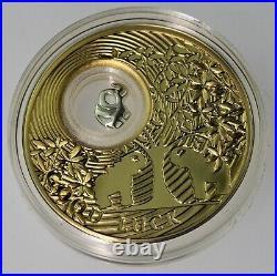 RARE 2013 ELEPHANTS. 925 silver gold gild Luck Series PROOF coin COA & OGP 2