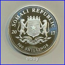 RARE 2017 5 oz Silver Coin African Wildlife Elephant Somali 500 Shillings