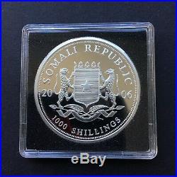 RARE KEY DATE 2006 Somalia 1 oz silver Elephant coin (BU) in capsule