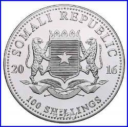 RARE NEW 2016 Somalian Elephant 1 oz Silver 24K GOLD Gilded BU Coin 3000 Mintage