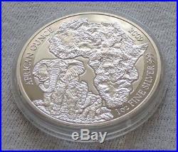 RWANDA 2009 Elephant Proof 1 oz SILVER coin 50 Amafaranga Ruanda PP elefant