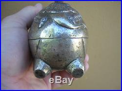 Rare Antique 900 Coin Silver Chinese Japanese Large Elephant Bonbonniere Box
