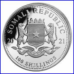 Roll of 20 2021 Somalia 1 oz Silver Elephant Sh100 Coins GEM BU PRESALE