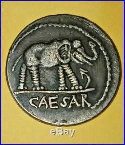 Roman Julius Caesar AR Denarius Coin 48 BC Elephant Snake