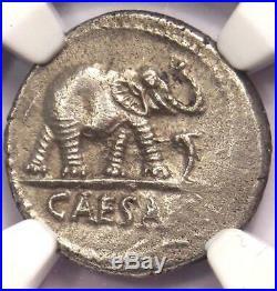 Roman Julius Caesar AR Denarius Coin 48 BC Elephant Snake NGC AU Condition