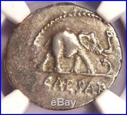Roman Julius Caesar AR Denarius Coin 48 BC Elephant Snake NGC Choice XF