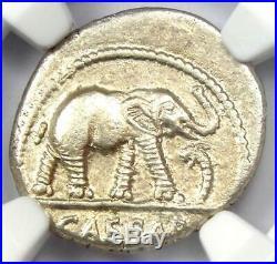 Roman Julius Caesar AR Denarius Elephant Silver Coin 48 BC Certified NGC AU