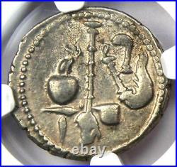 Roman Julius Caesar AR Denarius Elephant Silver Coin 48 BC NGC Choice XF (EF)