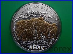 Rwanda 2007 1000 francs Elephants 3Oz Silver