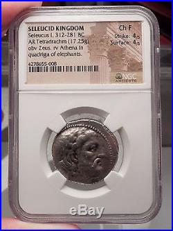 SELEUKOS I Nikator Tetradrachm NGC F ELEPHANT Silver Greek Coin Seleukid i57698