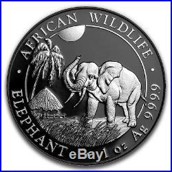SOMALIAN AFRICAN ELEPHANT SILVER ENIGMA 2017 1 oz Silver Coin Black Ruthenium