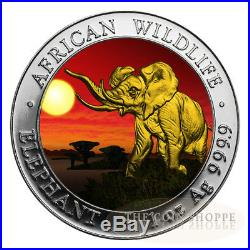 SOMALIAN AFRICAN ELEPHANT SUNSET EDITION 2016 1 oz Silver Coin Color 24K Gold