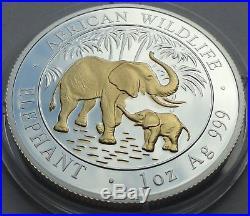 SOMALIA 2007 100 SHILLINGS ELEPHANT 1 Oz 999 SILBER SILVER GILDED PROOF RARE