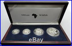 SOMALIA 2007 PROOF SET 4 x ELEPHANT 2 Oz 1 Oz 1/2 oz 1/4 oz 999 SILBER SILVER