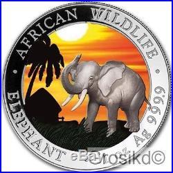 SOMALIA 2017 ELEPHANT 1 Oz SILBER COLOR FARBE AUSGABE NUR 100 STÜCK BOX COA v1