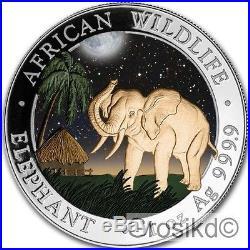 SOMALIA 2017 ELEPHANT 1 Oz SILBER COLOR FARBE AUSGABE NUR 100 STÜCK BOX COA v2