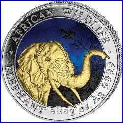 SOMALIA 2018 ELEPHANT 1 Oz SILBER COLOR FARBE AUSGABE NUR 100 STÜCK BOX COA v1