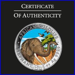 SOMALIA 2018 ELEPHANT 1 Oz SILBER COLOR FARBE AUSGABE NUR 100 STÜCK BOX COA v2