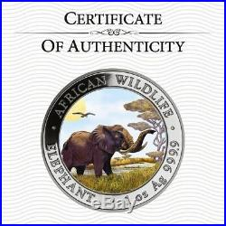 SOMALIA 2019 ELEPHANT 1 Oz SILBER COLOR FARBE AUSGABE NUR 100 STÜCK BOX & COA