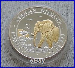SOMALIA Elephant 2010 1 oz SILVER Gold Gilded coin 100 shillings Somali Elefant