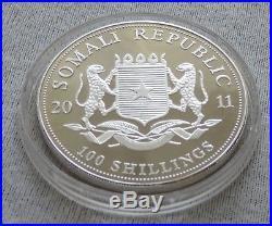 SOMALIA Elephant 2011 1 oz Silver Gold Gilded coin African Wildlife Elefant