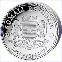 SOMALIE 2 000 Shillings Argent 1 Kilo Elephant 2017 1 Kg silver coin