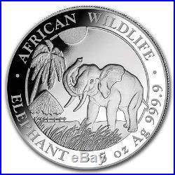 SOMALIE 500 Shillings Argent 5 Onces Elephant 2017 5 Oz silver coin
