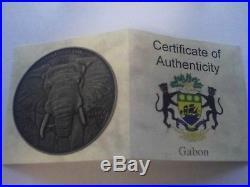 Series Africa Ounce Silver 999 1 Oz Antique Finish Elephant Year 2012 Gabon Coa