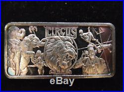 Silver Bar 1 Oz 999 Circus Clown Lion Elephant Trapeze Acrobats Hamilton America