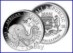 Silver Coin Somalia Elephant -1 Kilo KG 2018 Incl. Case