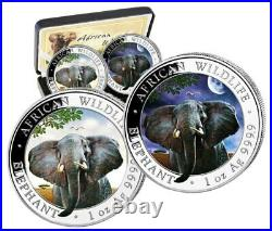 Silver Coins African Wildlife, Somalia Elephant 2021 Day And Night, Night