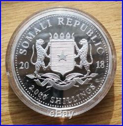 Somali Elephant 1 Kilo Silver Coin Bar. 999 Silver kg 999 Bullion 2018