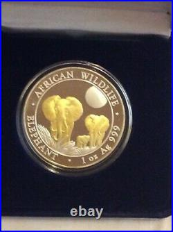 Somali Republic 2014 Gold Gilded African Wildlife Elephant Family 100 Shillings
