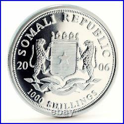 Somalia 1000 shillings African Wildlife Elephant Kilimanjaro silver coin 2006