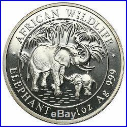 Somalia, 100 Shillings, 2007, Elephant, 1 oz. Of. 999 Fine Silver Coin