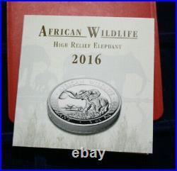 Somalia 100 Shillings 2016 African Wildlife Elefant #F3392 High Relief, Proof