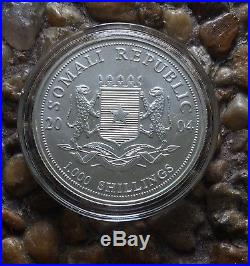 Somalia 2004 Silver 100 Shillings Elephant Silver Bullion Coin