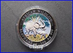 Somalia 2007 African Wildlife Elephant 1Oz Silver Coin Color rare