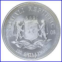 Somalia 2008 Silver 100 Shillings Elephant PCGS MS69 Silver Bullion Coin